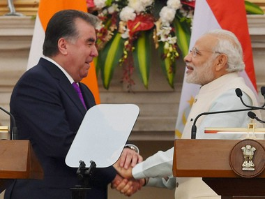 Prime Minister Narendra Modi and Tajikistan President Emomalih Rahmon during the joint statement at Hyderabad House in New Delhi on Saturday. PTI