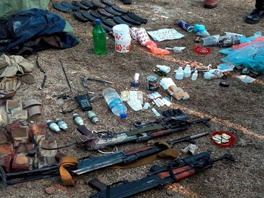 Army recovered a cache of arms amid other items from militants who attacked Nagrota camp, near Jammu. PTI