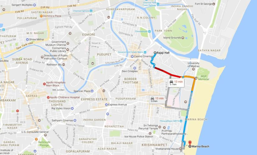 This screengrab from Google Maps show the distance from Rajaji Hall, where Jayalalithaa's body has kept right now, till Marina Beach where she will be buried.