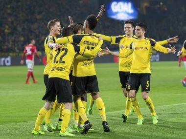 champions league pierre emerick aubameyang hat trick fires dortmund into quarters. Black Bedroom Furniture Sets. Home Design Ideas