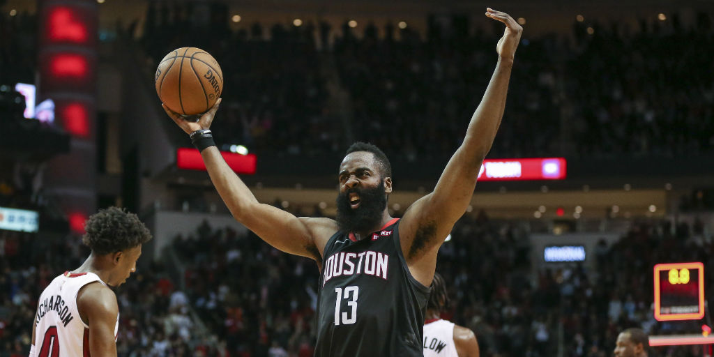 58bdee07828 NBA  James Harden shines again as Rockets overcome 21-point third-quarter  deficit to beat Heat  76ers edge past Thunder - Firstpost