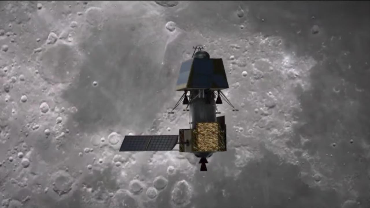 An illustration of Chandrayaan 2 orbiter lander rover composite orbiting the Moon. Image courtesy: ISRO