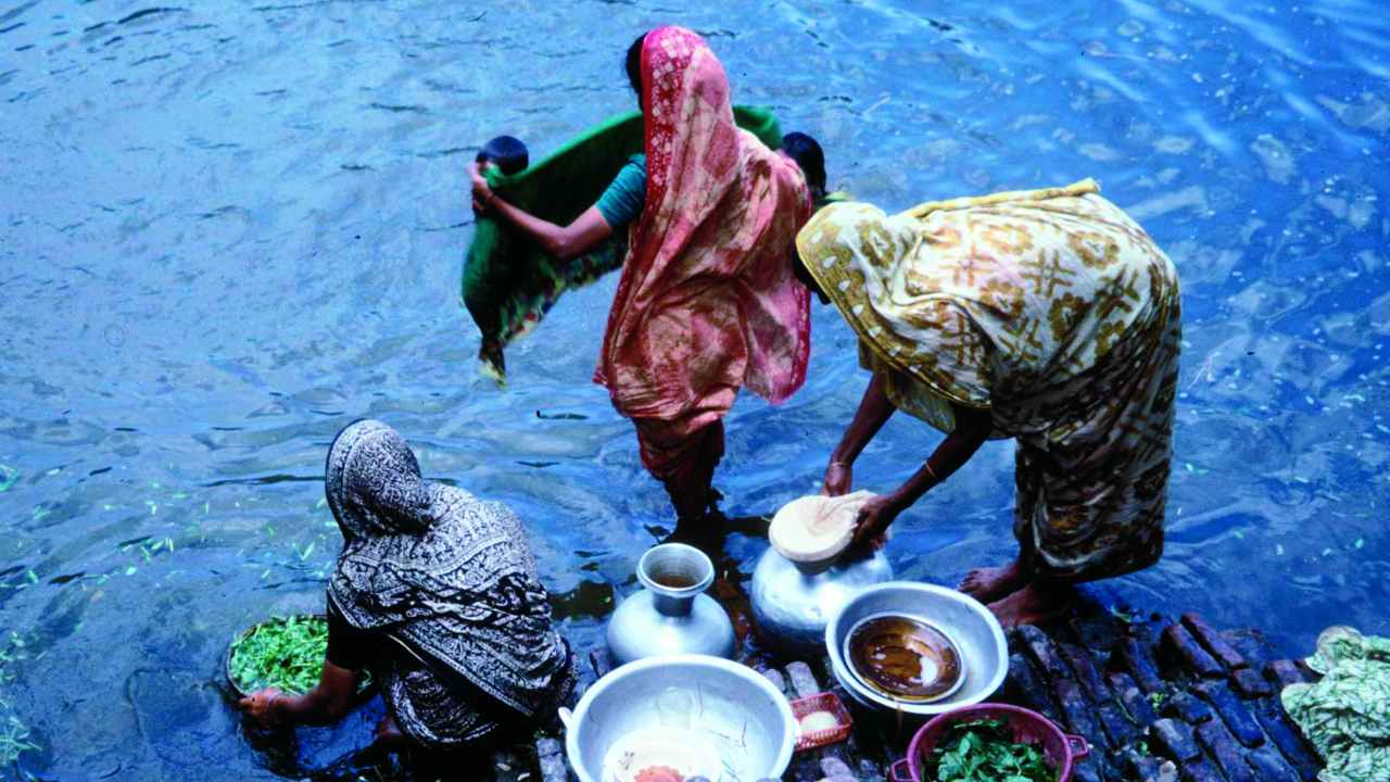 Women at a Village Pond in Matlab, Bangladesh, Washing Utensils and Vegetables.