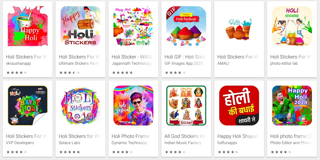 Holi stickers on Google Play