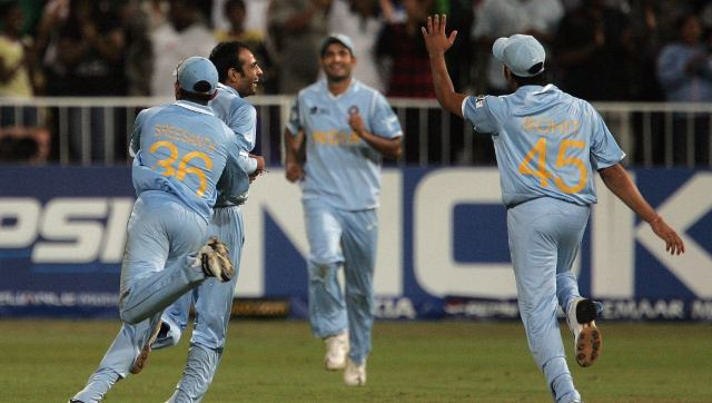 Joginder Sharma in action at the 2007 World T20. AFP