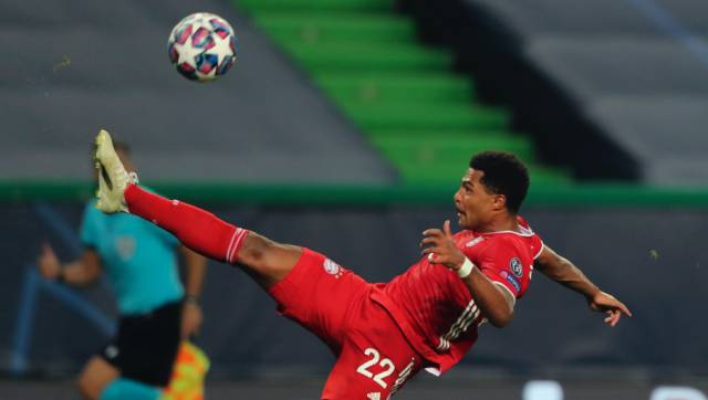 Bayern's Serge Gnabry tries to control the ball during the Champions League semifinal soccer match between Lyon and Bayern Munich at the Jose Alvalade stadium in Lisbon, Portugal, Wednesday, Aug. 19, 2020. (Miguel A. Lopes/Pool via AP)