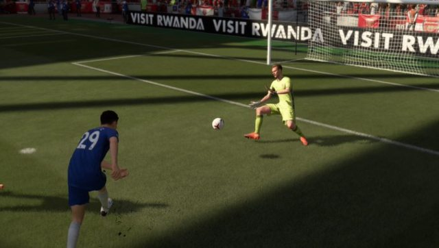 Arsenal's Bernd Leno, rated 85, concedes a goal from a ridiculous angle. Screen grab from FIFA 21