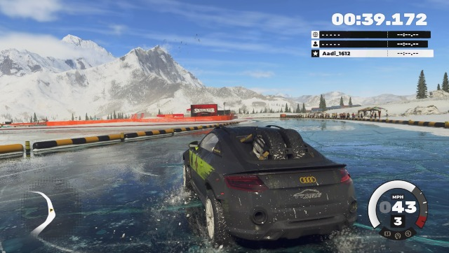 Here I am slipping and sliding my way across icy Nepalese roads in an Audi. Screen grab from DIRT 5
