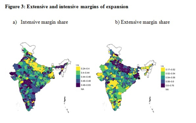 Notes and Source: Authors' calculations based on MIS data for May 2019 and May 2020 and Census 2011. Excludes districts that do not have a consistent series, district boundaries of 2011. Urban districts in the map are coded as NA. Bardhaman, Balrampur, Puducherry are set to 0 due to incomplete data.