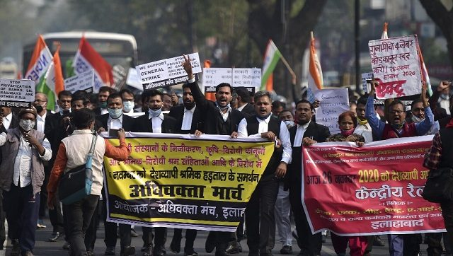 Activists of all India lawyers union and central trade unions , in Allahabad take part in the nationwide strike against various new policies introduced by the Central government. AFP