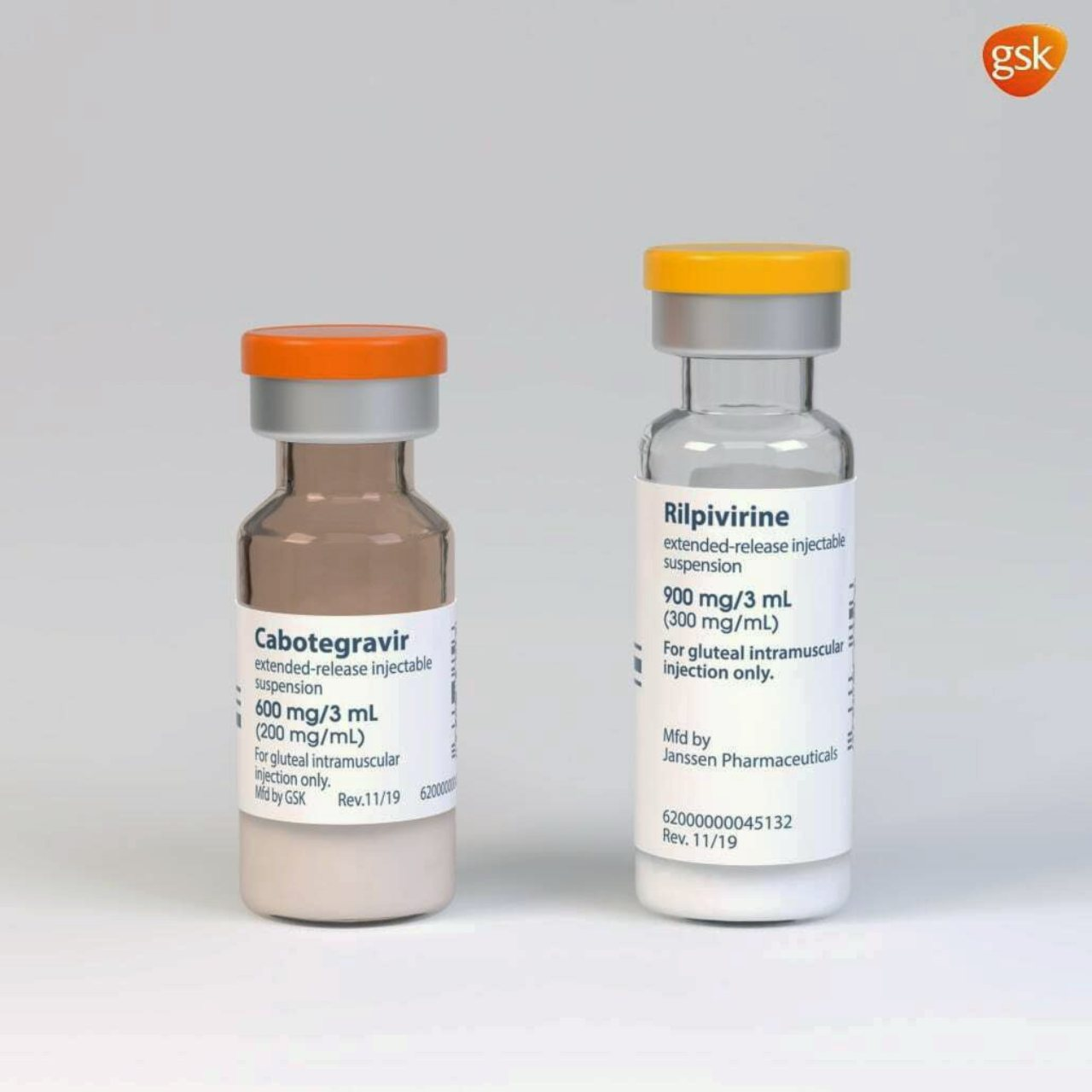 Rendering of the packaging and vials containing its new HIV treatment, Cabenuva. Image: ViiV Healthcare/GSK/P