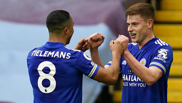 Leicester's Harvey Barnes celebrates with Youri Tielemans after scoring his side's second goal against Aston Villa. AP