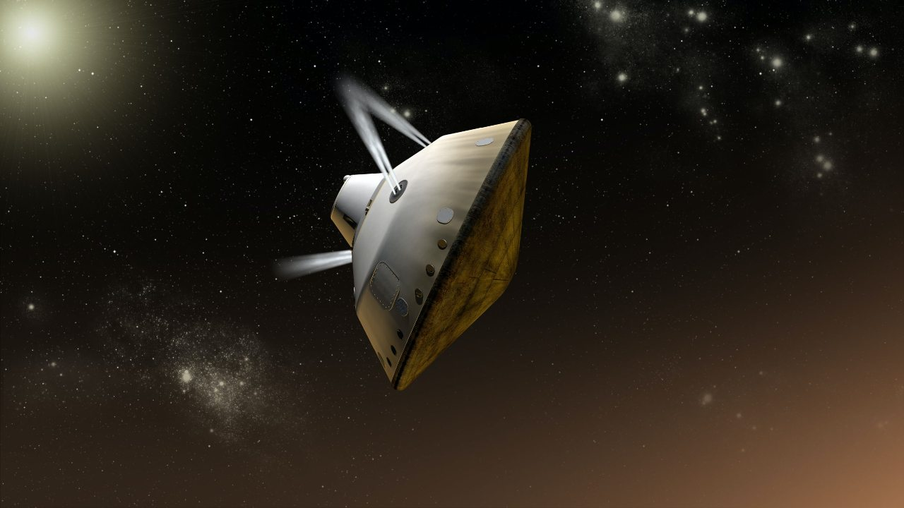 This artist's impression shows thrusters controlling the angle of the spacecraft during MSL 2012's Mars entry. Mars 2020 will use the same technique. Image credit: NASA/JPL-Caltech