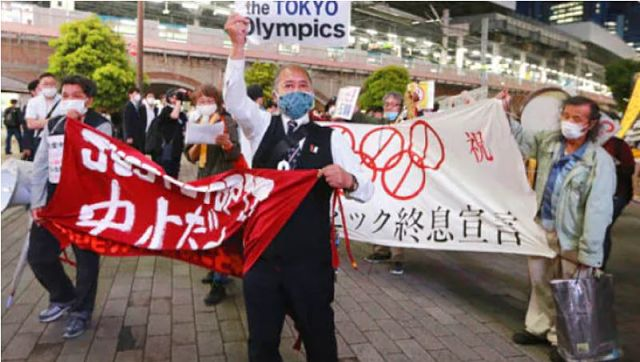 File image of demonstrators protesting against the Tokyo 2020 Olympics in Tokyo. AP