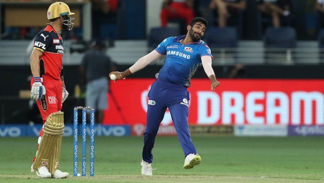 RCB's batting started off on the wrong note, with Jasprit Bumrah taking the early wicket of Devdutt Padikkal. Bumrah would go on to take the wickets of Glenn Maxwell and AB de Villiers as well. SportzPics